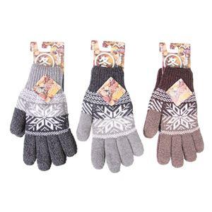 (まとめ)タッチパネル対応 日本製 ニット手袋 メンズ グレー・ライトグレーブラウン 3色アソート 【×10双セット】 JP10 - 拡大画像