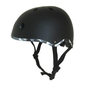 子供用 ラウンド型 ヘルメット 【ブラック】 21×18×31cm 重さ300g ワンタッチあご紐 サイズ無段階ダイヤル式 〔通学〕 - 拡大画像