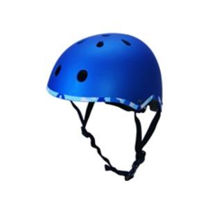 子供用 ラウンド型 ヘルメット 【ブルー】 21×18×31cm 重さ300g ワンタッチあご紐 サイズ無段階ダイヤル式 〔通学〕 - 拡大画像