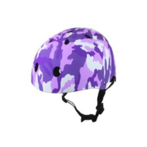 子供用 ラウンド型 ヘルメット 【カモパープル】 21×18×31cm 重さ300g ワンタッチあご紐 サイズ無段階ダイヤル式 〔通学〕 - 拡大画像