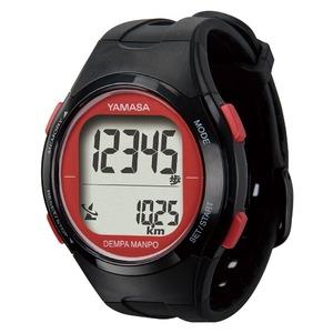 腕時計型 万歩計/歩数計 【ブラック×レッド TM500-BKR】 電波時計内蔵 生活防水 『DEMPA MANPO』 〔運動用品〕 - 拡大画像