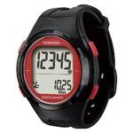 腕時計型 万歩計/歩数計 【ブラック×レッド TM500-BKR】 電波時計内蔵 生活防水 『DEMPA MANPO』 〔運動用品〕