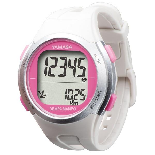腕時計型 万歩計/歩数計 【ホワイト×ピンク TM500-WP】 電波時計内蔵 生活防水 『DEMPA MANPO』 〔運動用品〕