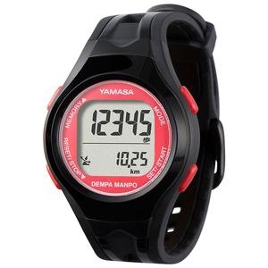 電波時計内蔵腕時計型 ウォッチ万歩計 DEMPA MANPO ブラック×レッド TM450-BKR - 拡大画像