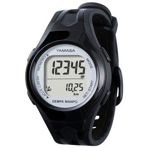 電波時計内蔵腕時計型 ウォッチ万歩計 DEMPA MANPO ブラック×シルバー TM450-BKSL - 拡大画像