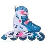 子ども用 インラインスケート/ローラースケート 【ライトブルー】 20〜23cm 4段階サイズ調整可能 肉厚インナー 〔スポーツ用品 運動用品〕