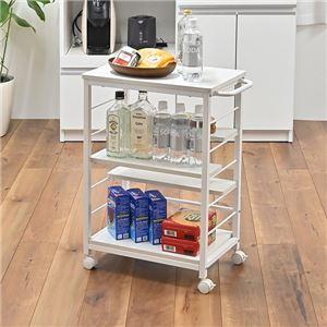 スリム キッチンワゴン/キッチン収納 【ホワイト】 幅30cm キャスター付き 取っ手付き 可動式棚板