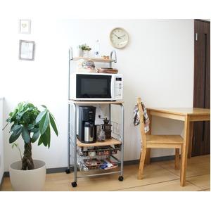 レンジラック/キッチン収納 【ナチュラル】 幅52cm キャスター付き 二口コンセント付き スライドテーブル - 拡大画像