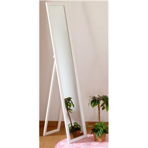 鏡面 スタンドミラー/全身姿見鏡 【ホワイト】 幅30cm スリム 折りたたみ可 飛散防止加工 【完成品】 - 拡大画像