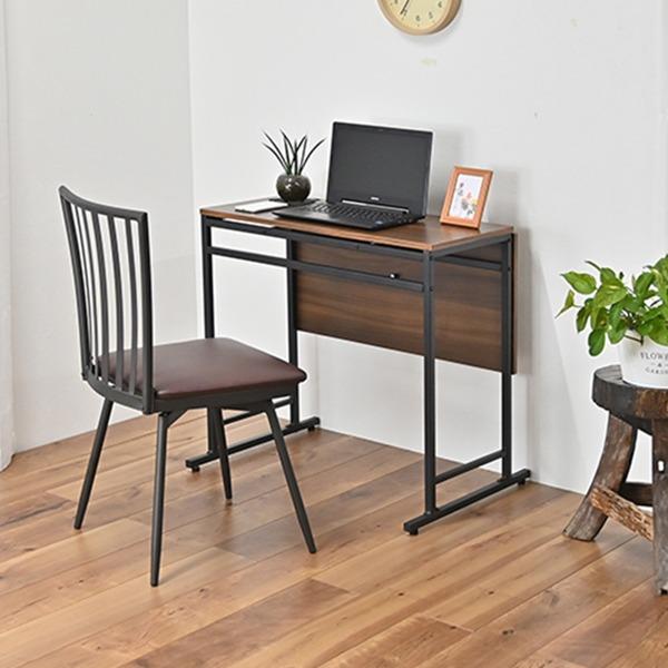 折りたたみ ダイニングテーブル&回転式食卓椅子 【2点セット デスク1台+チェア1脚】 デスク:約幅75cm スチール 〔リビング〕