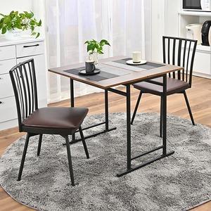 折りたたみ ダイニングテーブル&回転式食卓椅子 【3点セット デスク1台+チェア2脚】 デスク:約幅75cm スチール 〔リビング〕 - 拡大画像
