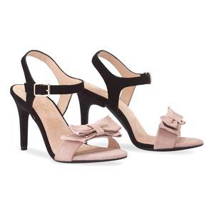ヒール付替え可能サンダル/婦人靴 【Black&Rose Nude/Stiletto 10cm ブラック系 39(26cm相当)】 Mime et moi ミミ・エ・モイ - 拡大画像