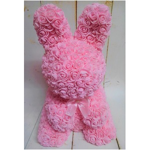 アーティフィシャルバニー【2個セット】(ピンク造花)ローズバニー - 拡大画像