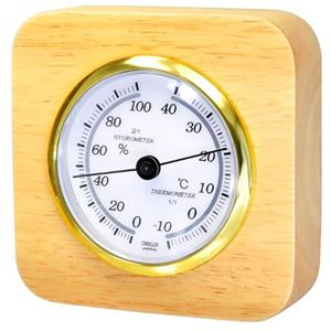 クレセル 天然木温湿度計 卓上用 CR‐620 - 拡大画像