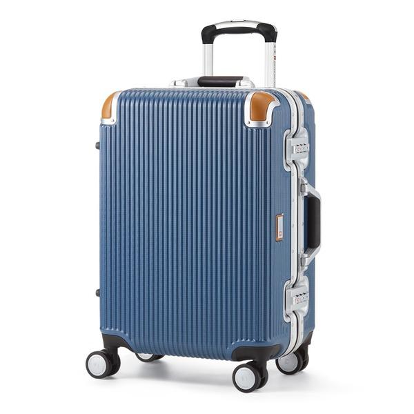 軽量 スーツケース/旅行カバン 【34L ブルー】 1〜3泊用 ポリカーボネード TSAロック 4輪ダブルキャスター スイスミリタリー