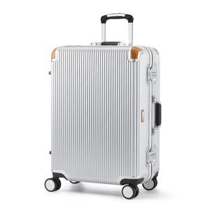 軽量 スーツケース/旅行カバン 【64L シルバー】 4〜6泊用 ポリカーボネード TSAロック 4輪ダブルキャスター スイスミリタリー - 拡大画像