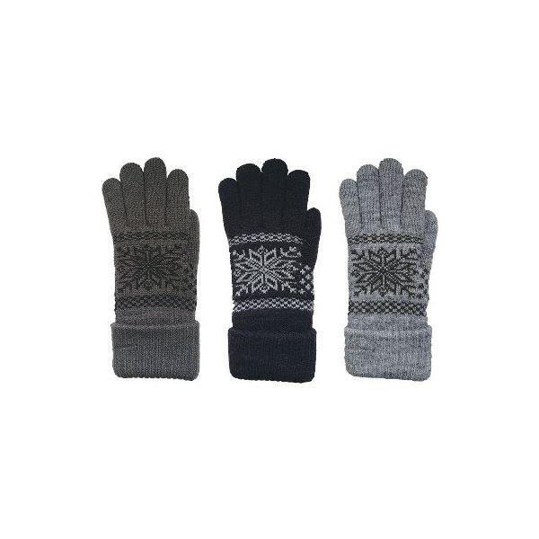 ニット手袋 インナーファー メンズ 3柄アソート 10双セット