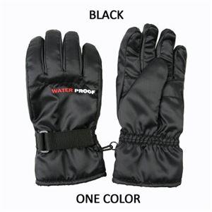 防寒ナイロン手袋メンズ 防水インナー内蔵 ブラック - 拡大画像
