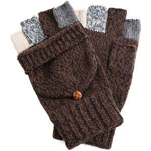 指切りニット手袋 メンズ ブラウン - 拡大画像
