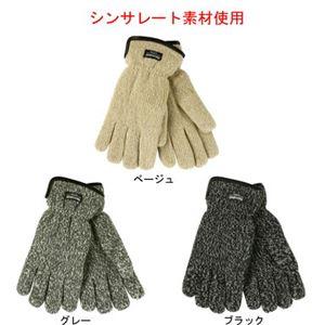 ニット手袋 Thinsulate(保温素材)入り メンズ ブラック - 拡大画像
