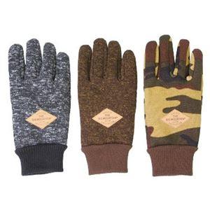 防風フリース 手袋 メンズ ブラウン - 拡大画像