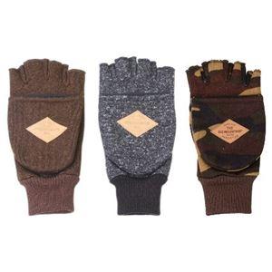 防風フリース フィンガレス手袋 メンズ ブラウン - 拡大画像