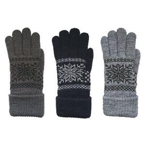 ニット手袋 インナーファー メンズ グレー - 拡大画像