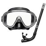 マスクシュノーケル2点セット(リーフツアラーのマスク&スノーケル) BKBK ブラック×ブラック 大人用 弁付きシュノーケル