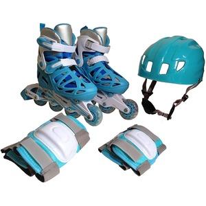 インラインスケートセット ライトブルー Sサイズ(18〜20cm) 3段階可変 475 - 拡大画像