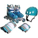インラインスケートセット ライトブルー Sサイズ(18〜20cm) 3段階可変 475