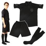 rioh サッカー審判服 M 3点セット(半袖シャツ + ハーフパンツ + ソックス) レフリーウェア ユニフォーム ブラック 黒
