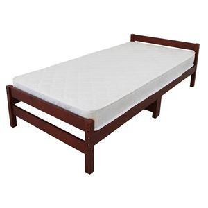 ボンネルコイルマットレス付 天然木 すのこベッド シングル ブラウン 幅98cm 高さ調節可 ベッドフレーム 圧縮梱包 【組立品】 - 拡大画像