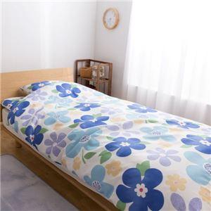 ミニョン 合繊6点セット (掛けふとん・敷きふとん・枕・カバー×各1) シングルロング ブルー - 拡大画像