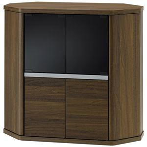 コーナーミドルテレビ台 幅79cm ブラウン 【組立品】 - 拡大画像
