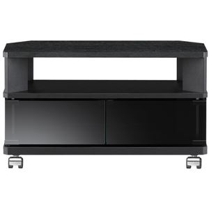コーナーぴったりテレビ台 幅59.5×高さ34.2cm ブラック 【組立品】 - 拡大画像