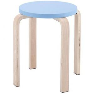木製丸椅子座面φ340mm ブルー - 拡大画像