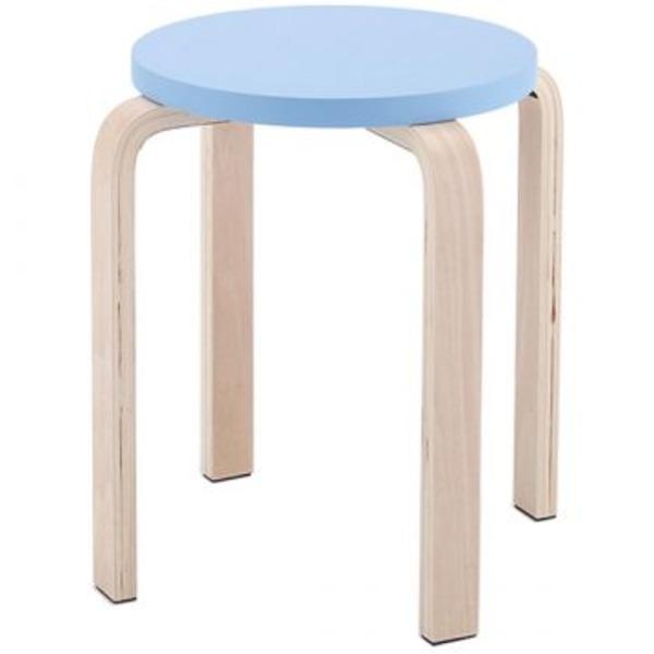 木製丸椅子座面φ340mm ブルー