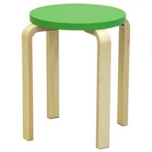 木製丸椅子座面φ340mm グリーン - 拡大画像