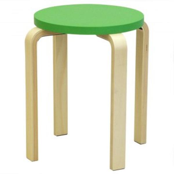 木製丸椅子座面φ340mm グリーン