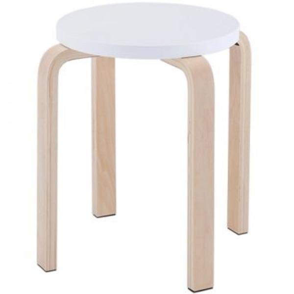 木製丸椅子座面φ340mm ホワイト