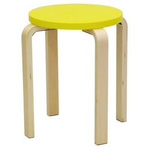 木製丸椅子座面φ340mm イエロー - 拡大画像