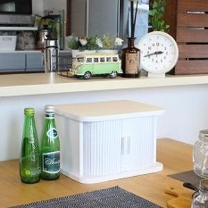 ジャバラ扉式卓上調味料収納庫 幅30cm 調味料入れ 小物入れ 桐材【ホワイト】完成品 - 拡大画像
