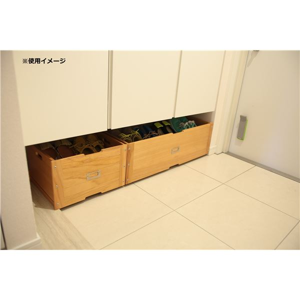 玄関収納/下駄箱下収納ボックス 【幅36cm】 ライトブラウン