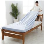 【西川】 シーツ/寝具 【ダブル〜クイーン ブルー】 日本製 取付簡単 洗える 綿混 クイックラップシーツ のびのびシーツ