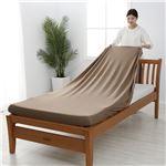 【西川】 シーツ/寝具 【ダブル〜クイーン ブラウン】 日本製 取付簡単 洗える 綿混 クイックラップシーツ のびのびシーツ