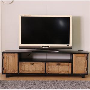 TVボード 152cm幅 ブラック テレビ台 テレビボード リビングボード リビング 収納 天然木 カントリー おしゃれ 北欧 - 拡大画像