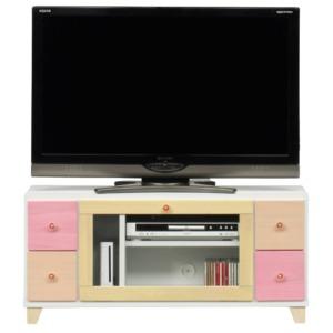 日本製 天然木 TV台 【101cm幅 ピンク系】 完成品 テレビ台 TVボード テレビボード リビングボード - 拡大画像