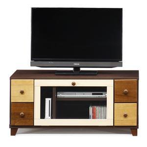 日本製 天然木 TV台 【101cm幅 ブラウン本体】 完成品 テレビ台 TVボード テレビボード リビングボード - 拡大画像