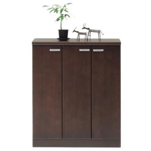 日本製 天然木 シューズBOX(ロータイプ) 【78.5cm幅 ブラウン】 完成品 シューズボックス 下駄箱 靴収納 玄関収納 - 拡大画像
