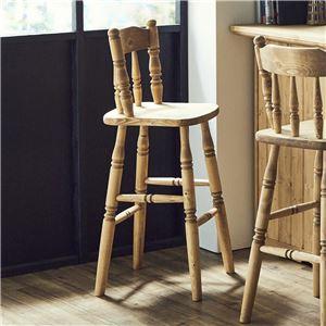 バーチェア ナチュラルブラウン チェア ハイチェア 椅子 ダイニングチェア カントリー 天然木 おしゃれ 完成品 - 拡大画像